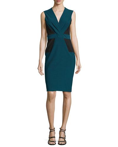 Sleeveless Pleated-Front Sheath Dress, Kyanite/Multi