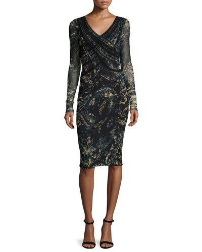 Long-Sleeve Paisley Faux-Wrap Dress, Black