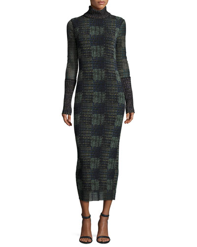 Long-Sleeve Turtleneck Plaid Midi Sheath Dress, Blue Ink