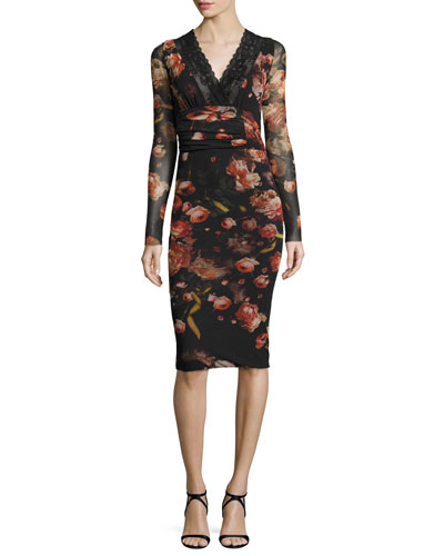 Long-Sleeve Floral-Print Lace-Trim Sheath Dress, Red/Black