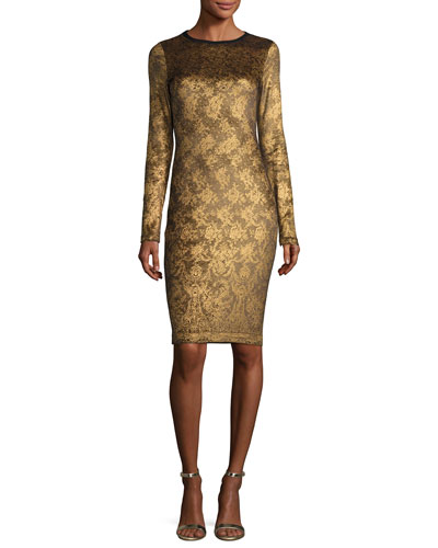 Long-Sleeve Lace-Print Cocktail Sheath Dress, Gold