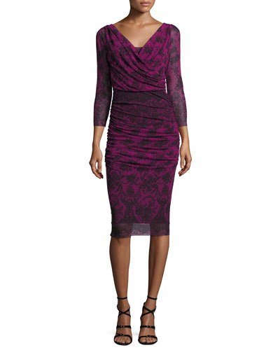 3/4-Sleeve Ruched Lace-Print Sheath Dress, Gardenia