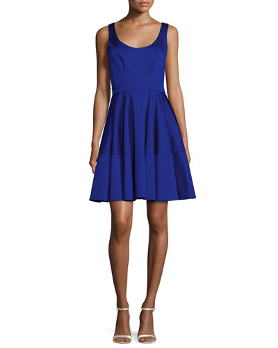 Sleeveless Satin Fit-and-Flare Cocktail Dress, Blue