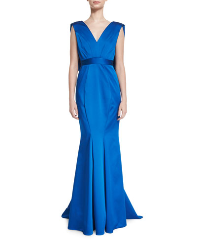 Sleeveless V-Neck Satin Mermaid Gown, Bluebell