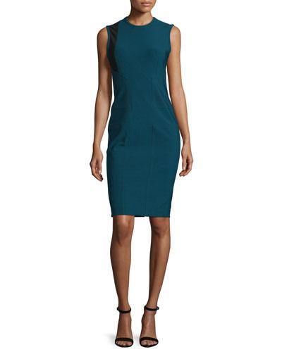 Cross Jewel-Neck Contrast-Inset Dress, Kyanite/Multi