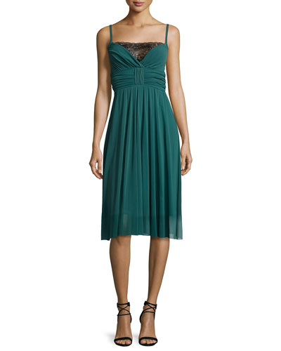 Spaghetti-Strap Pleated Tulle Dress w/ Lace Inset, Clover