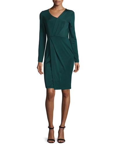Long-Sleeve Faux-Wrap Dress, Lave
