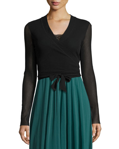 Ballet Tie-Wrap Cardigan, Black