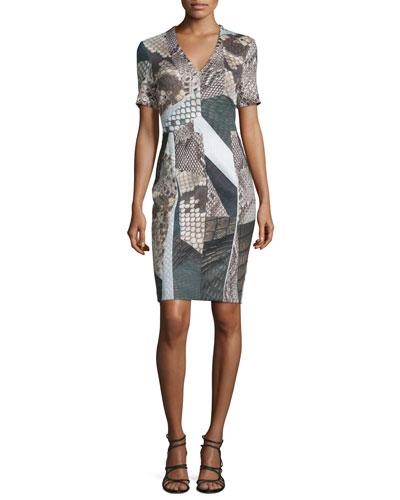 Short-Sleeve Mixed-Print Sheath Dress, Jet/Multi