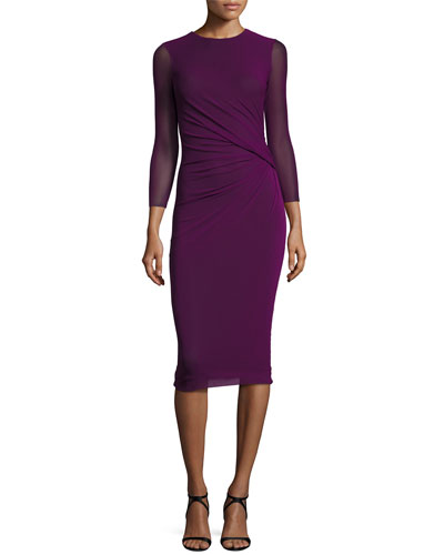3/4-Sleeve Faux-Wrap Classic Bodycon Dress