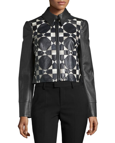 Python-Inset Leather Jacket, Jet/Multi
