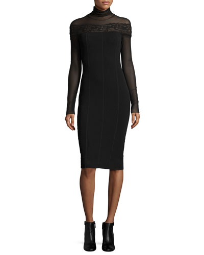 Long-Sleeve Turtleneck Bodycon Dress w/ Sheer Lace Yoke, Black