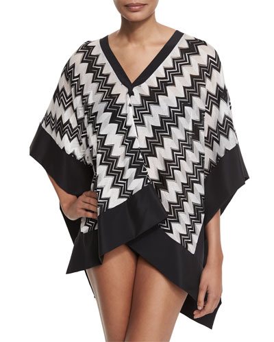 Zigzag Satin-Trim Poncho Coverup