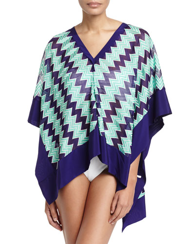 Chevron-Knit Poncho Coverup, Blue