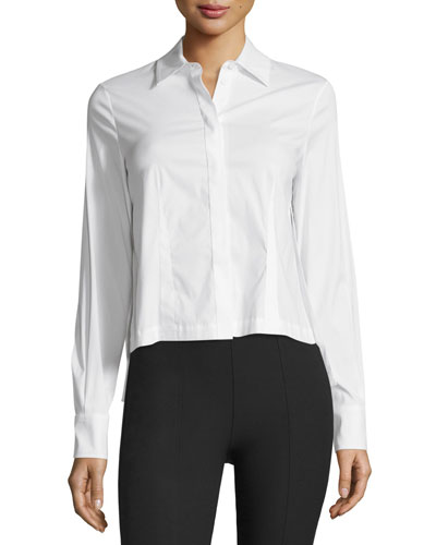 Starr Button-Front Shirt, Optic White