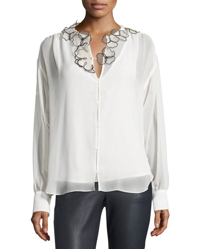 Long-Sleeve Floral Chiffon Blouse, Winter White