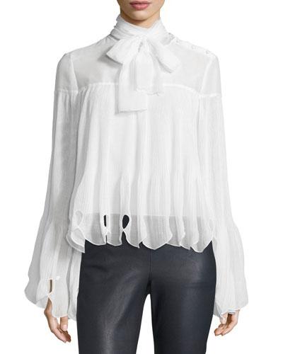 Long-Sleeve Plissé Paisley Chiffon Top, Natural White