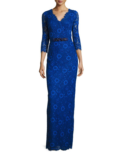 3/4-Sleeve Floral Lace Column Gown, Royal