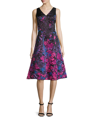 Sleeveless Ombre Floral Fit-and-Flare Dress, Multicolor
