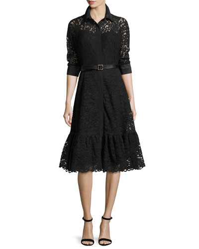 3/4-Sleeve Lace Cocktail Shirtdress, Black