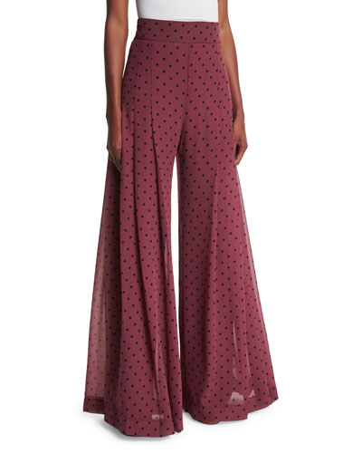High-Rise Chiffon Polka-Dot Trousers, Burgundy