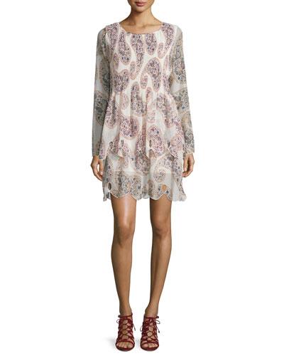 Long-Sleeve Paisley Chiffon Dress, Winter White