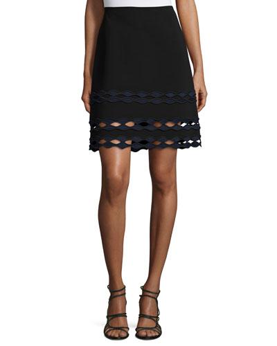 High-Waist Diamond Wave-Cutout Skirt, Jet/Multi