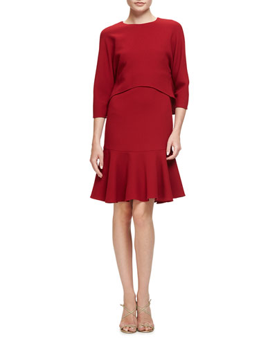 3/4-Sleeve Wool Popover Fit-and-Flare Dress, Garnet