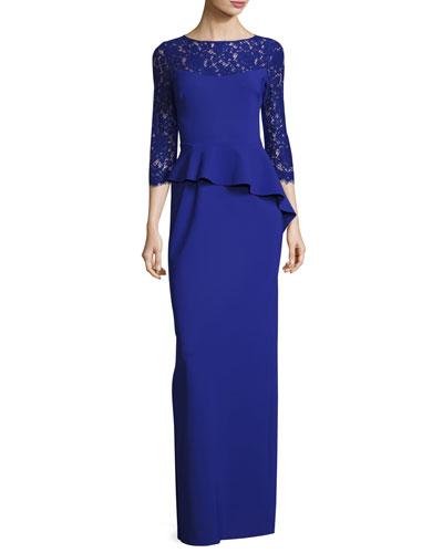 3/4-Sleeve Lace-Trim Stretch Jersey Peplum Gown, Cobalt