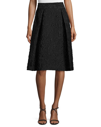 Pleated Jacquard A-Line Skirt, Black