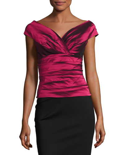 Cap-Sleeve Tiered Stretch Satin Top, Red