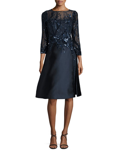 Sequined-Bodice Fit-&-Flare Cocktail Dress