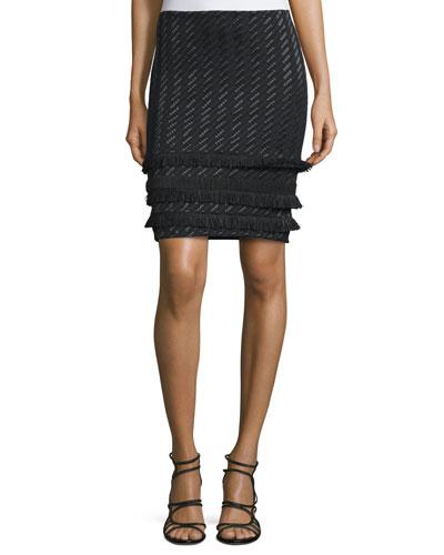 Mini Fringe-Trim Pencil Skirt, Jet Black/Multi