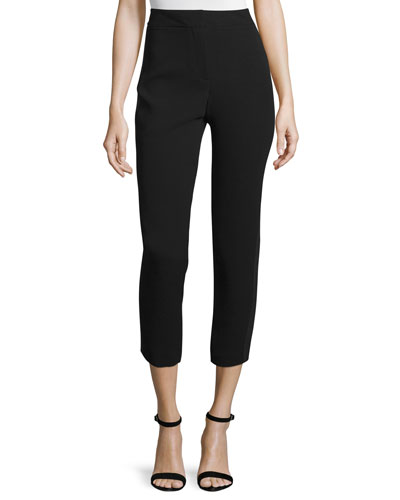 High-Waist Pleated-Stripe Cropped Pants, Jet/Multi
