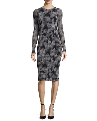 Long-Sleeve Mink-Print Midi Sheath Dress, Black
