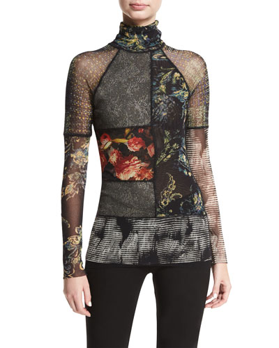 Long-Sleeve Patchwork Knit Top, Black Pattern