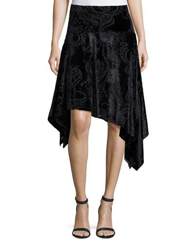 Paisley Velvet Asymmetric Handkerchief-Hem Skirt, Black