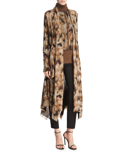 Long Open-Front Graphic-Print Cardigan, Camel
