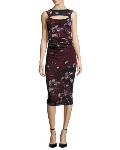 Sleeveless Floral-Print Ruched Dress w/ Cutout, Plum