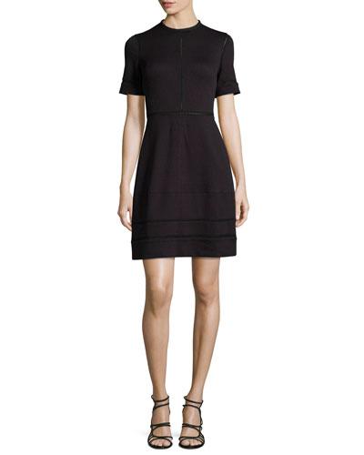 Short-Sleeve Textured Dress, Midnight/Multi