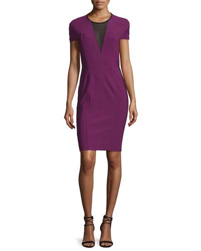 Short-Sleeve Mesh-Inset Sheath Dress, Beet/Multi