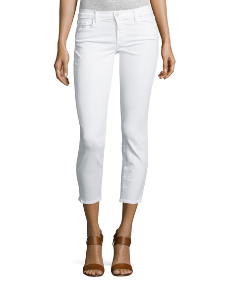 J Brand 835 Mid-Rise Cropped Jeans, Blanc