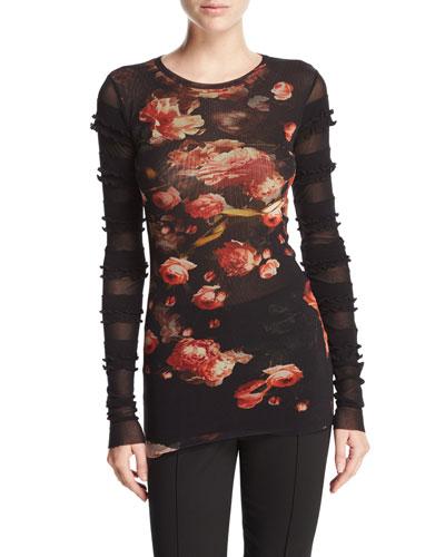 Semisheer Floral-Print Knit Top w/ Ruffle Trim, Black
