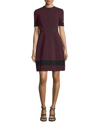 Short-Sleeve Two-Tone Dress, Midnight/Multi