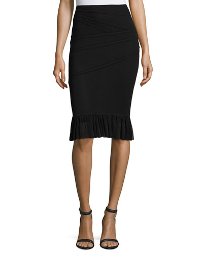 Banded Fishtail Skirt, Black