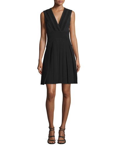 Sleeveless V-Neck Pleated Dress, Jet Black