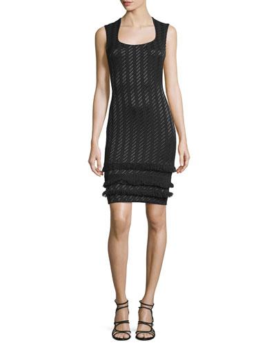Sleeveless Woven Sheath Dress, Jet/Multi