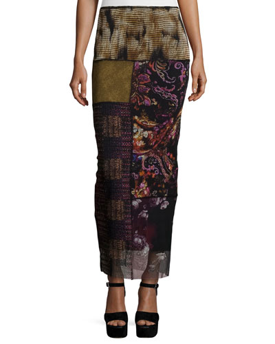 Patchwork Column Skirt, Gardenia