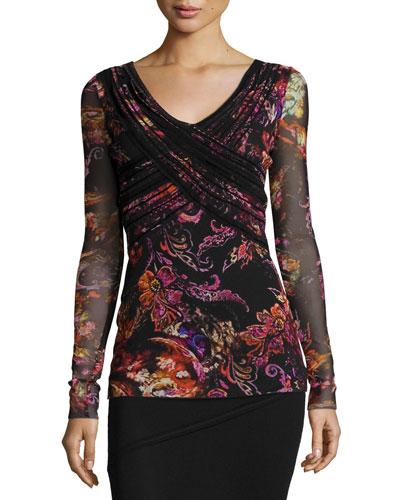 Surplice-Neck Floral-Print Velvet Top, Black