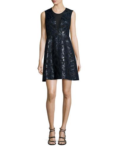Sleeveless Metallic Mini Dress, Jet/Multi